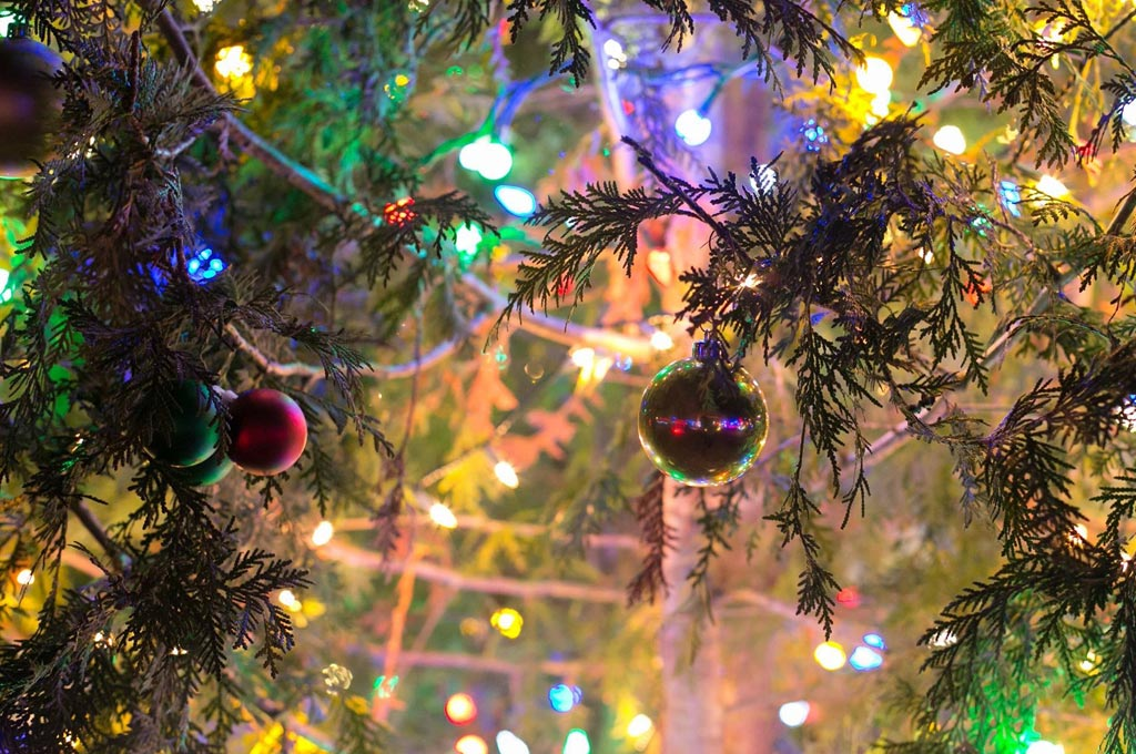 christmas tree decorations and lights