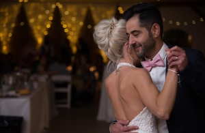 close up of wedding couple dancing