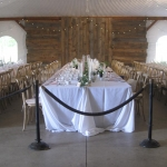 interior of southlawn tent long tables set
