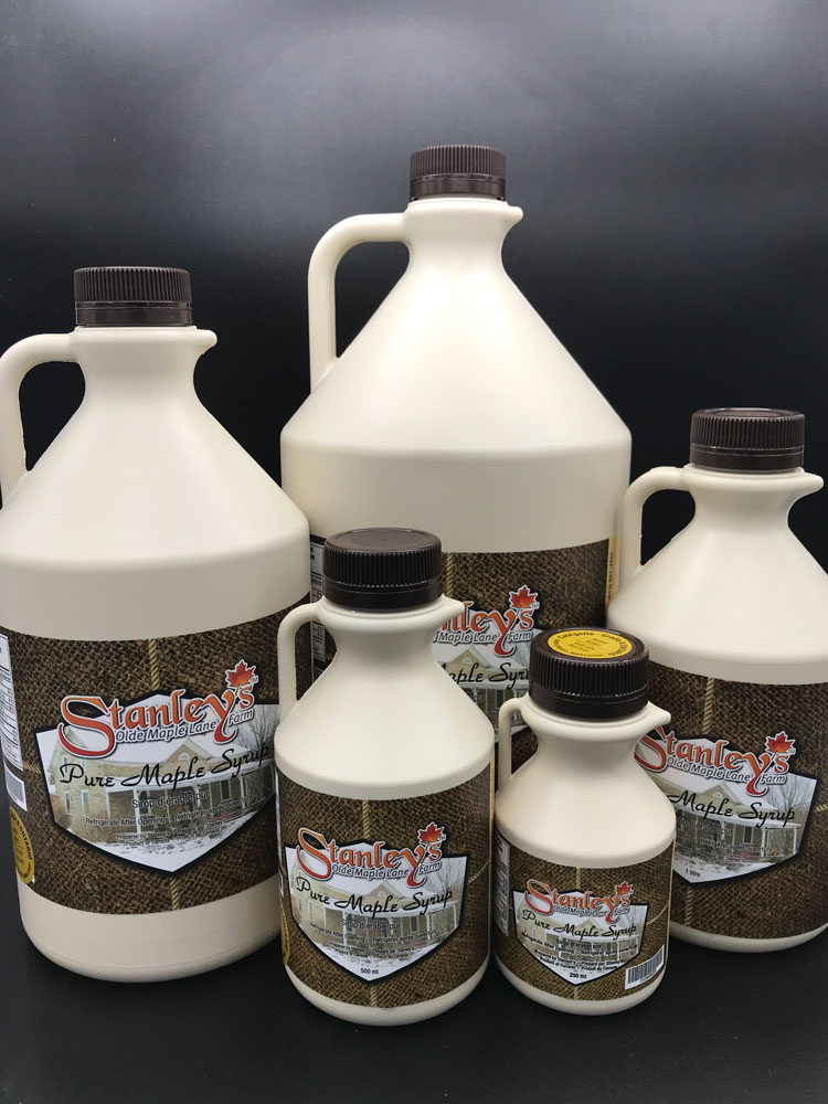 stanley's maple syrup in plastic jugs